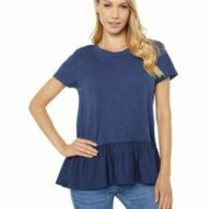 Dylan Scout Peplum Tee with Raw Cotton Hem